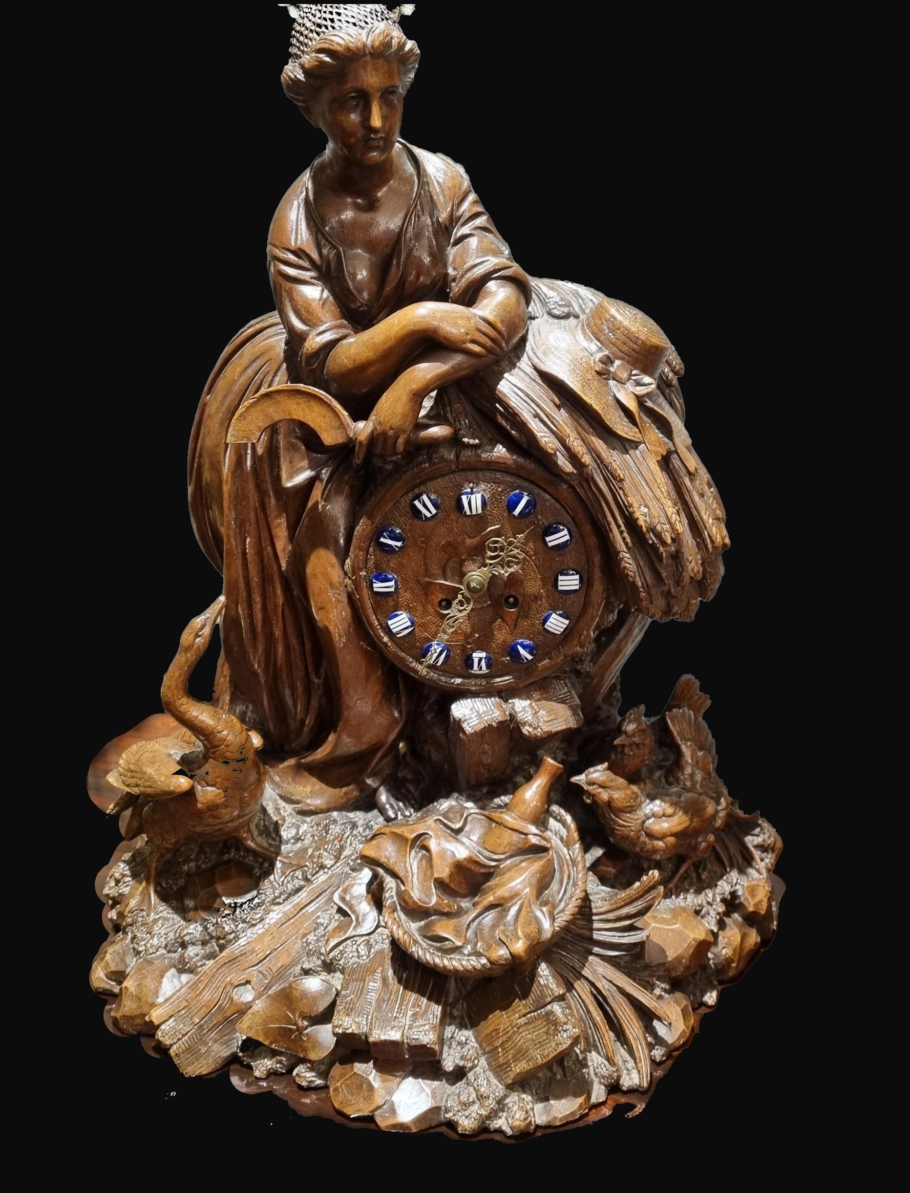 C19th Swiss Black forest Mantel Clock