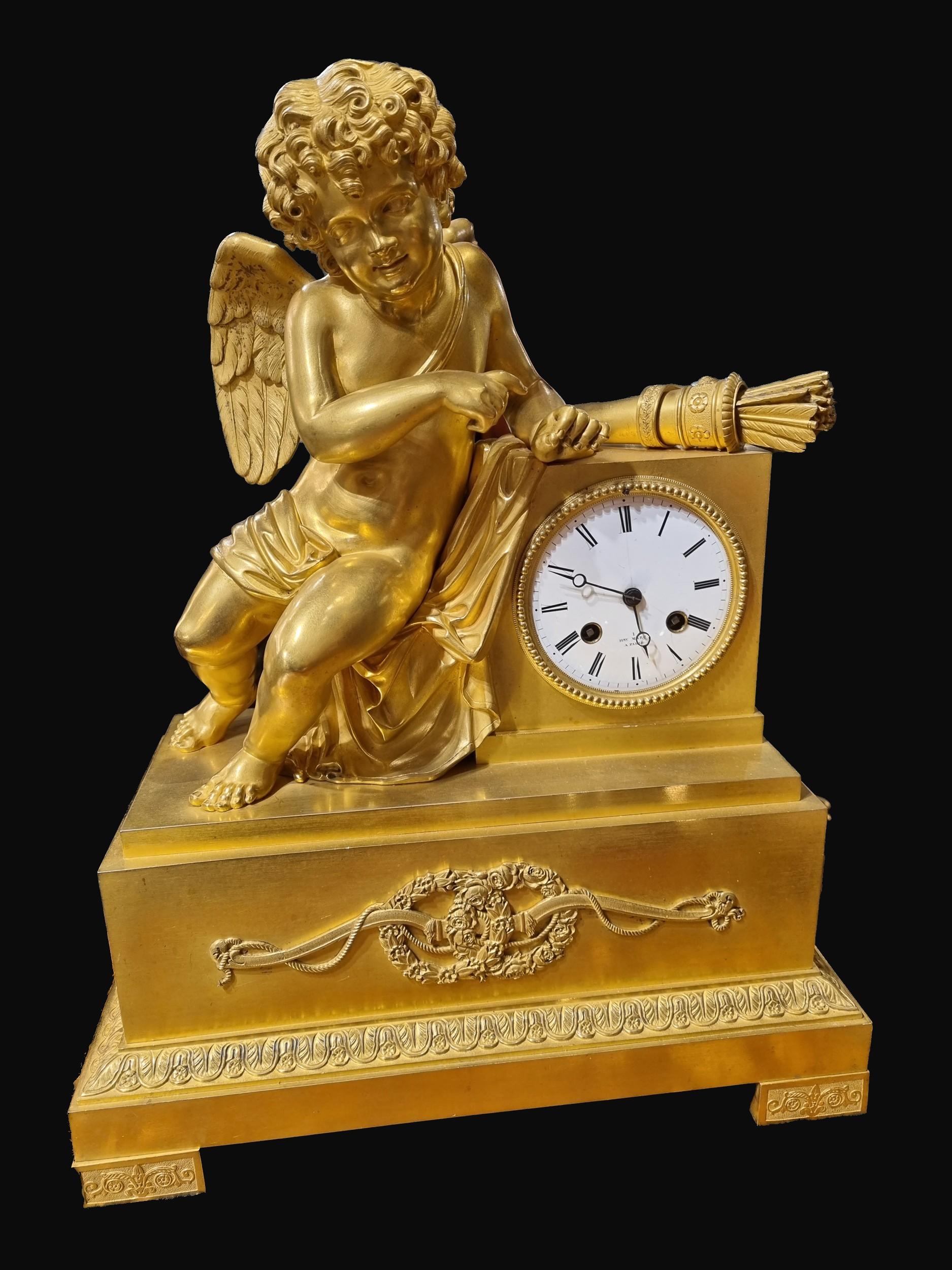 A Fine C19th Gilt Metal Cupid Mantel Clock by Henry Marc
