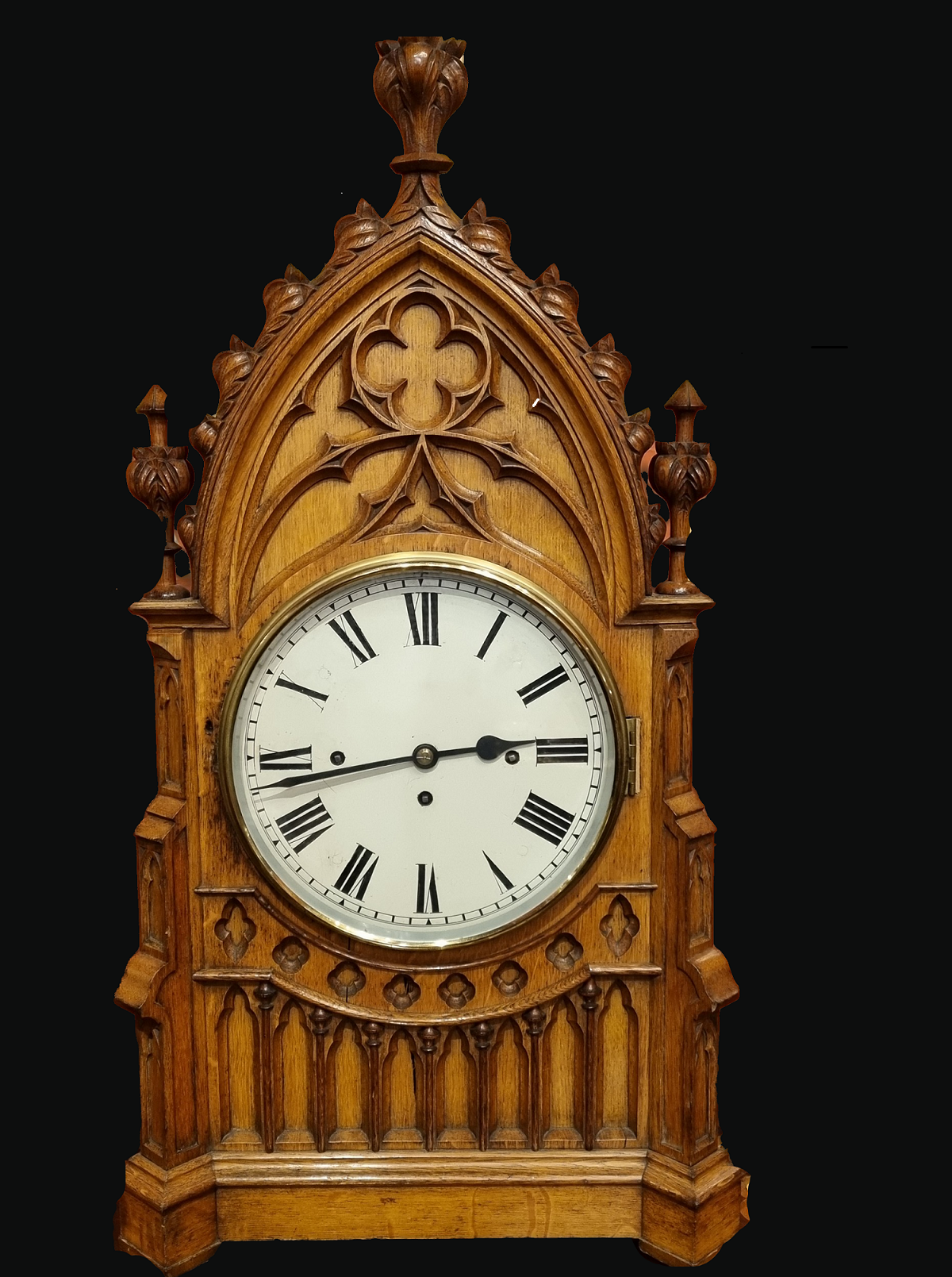 Gothic Revival Oak Mantel Clock