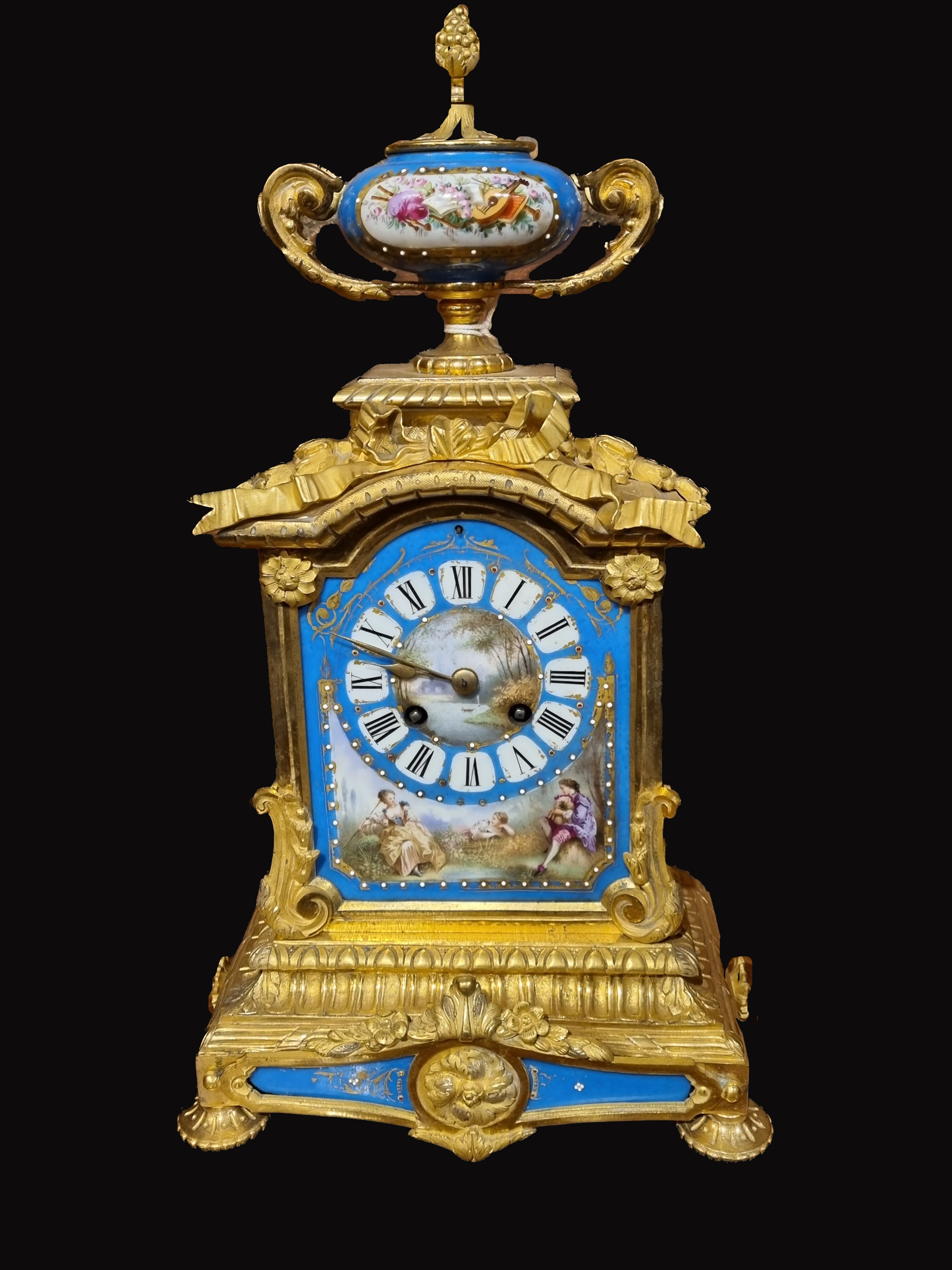 C1890S French Gilt Metal and Porcelain Mantel Clock
