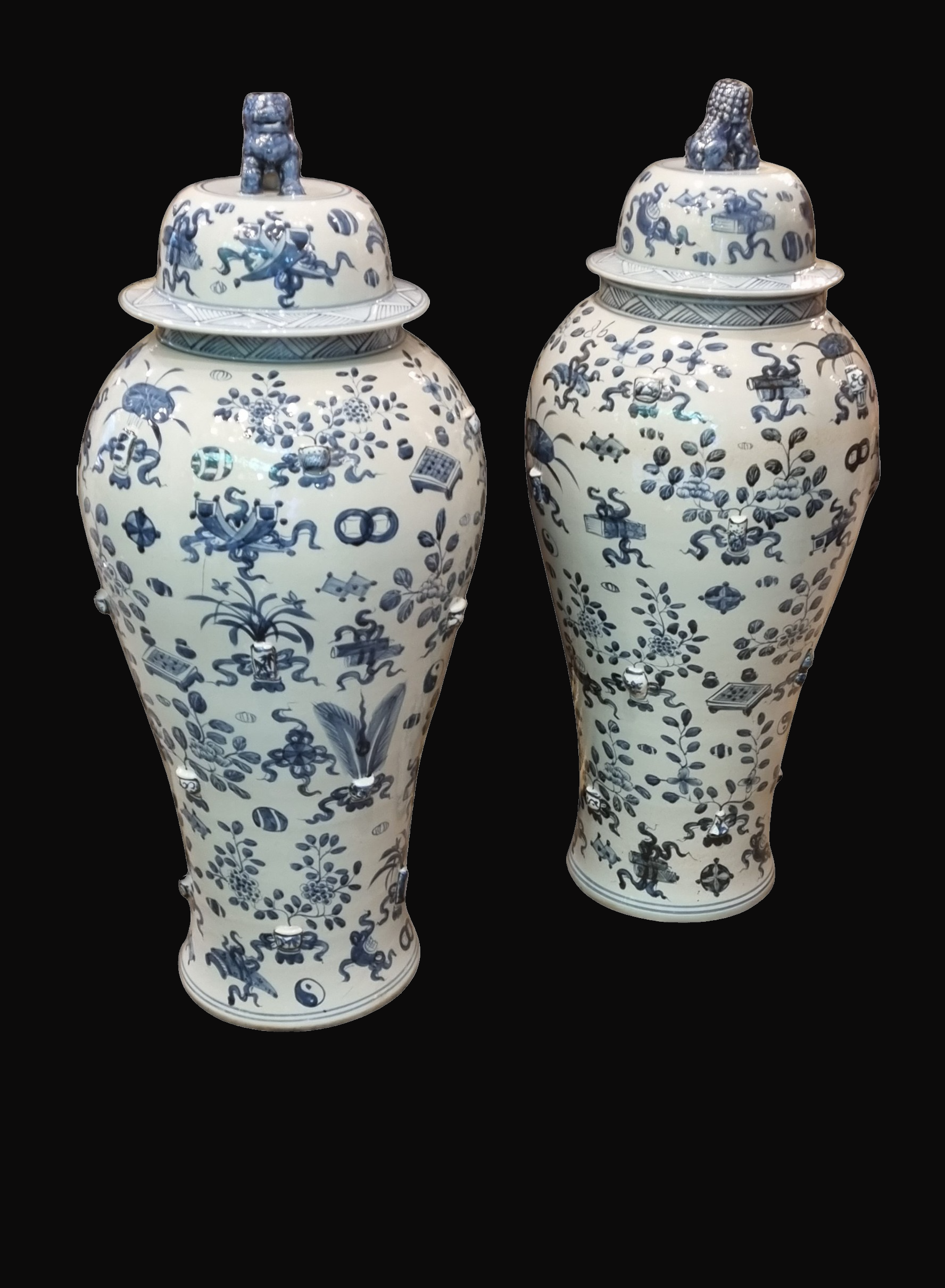 Large Pair of C20th Blue and White Chinese Porcelain lidded Vases