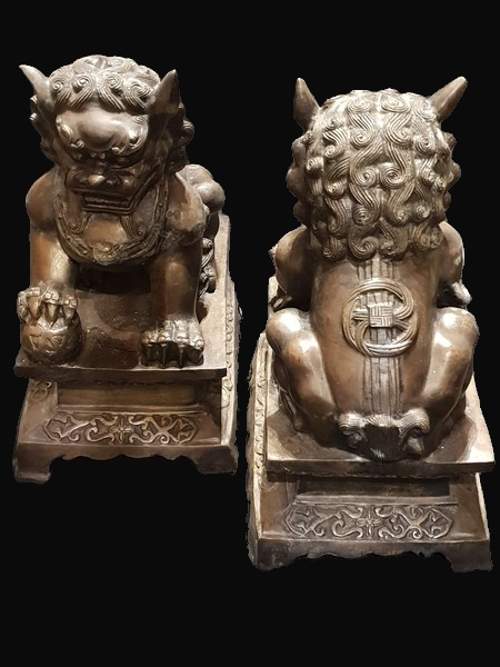 Fine Pair of Chinese Bronze Foo Dogs