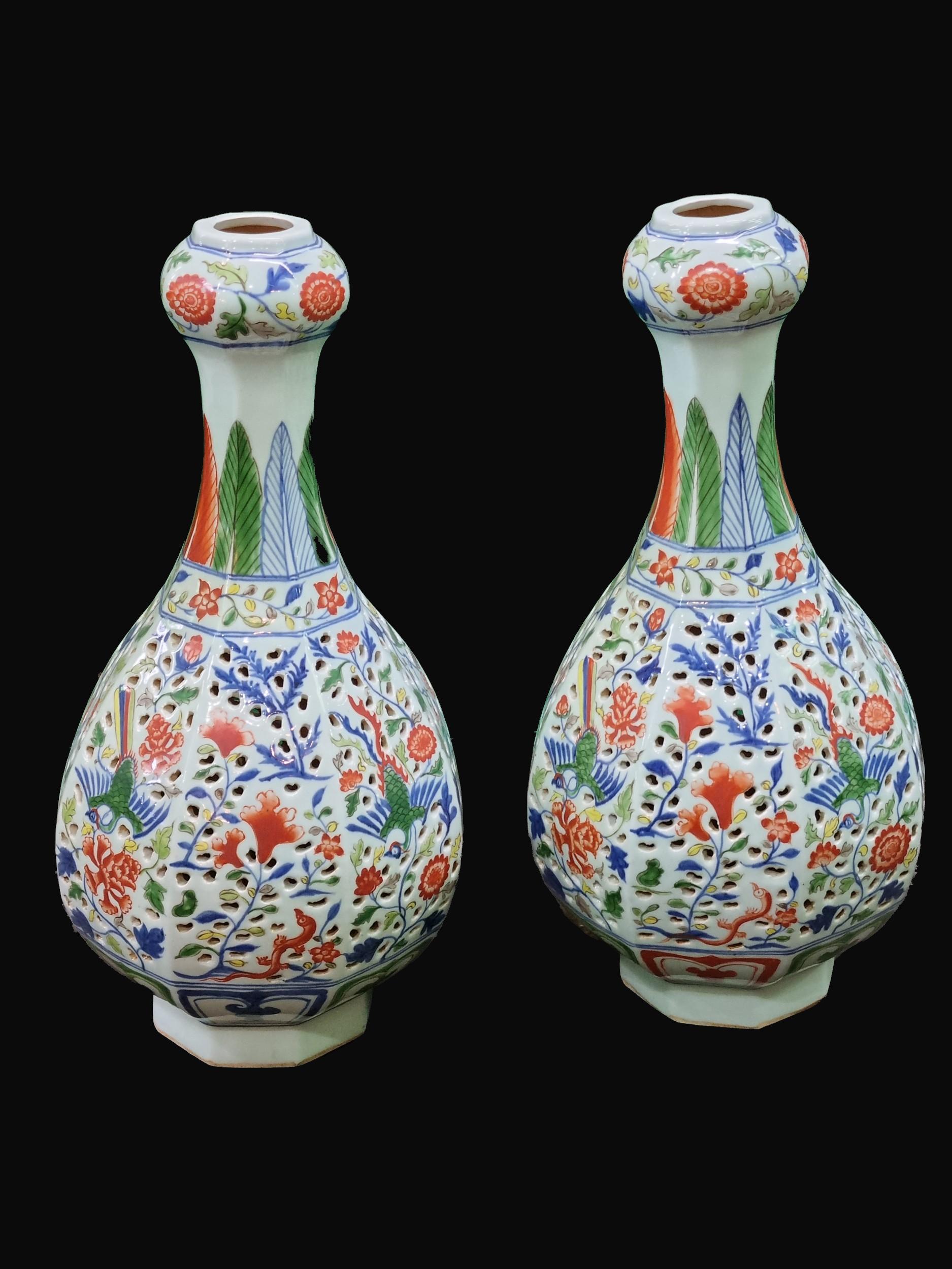 Decorative Pair of C20th Chinese Vases