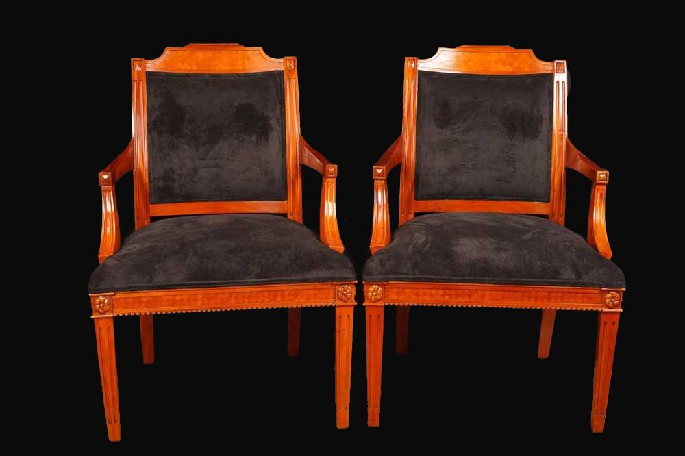 Pair of Biedermeir Style Arm Chairs
