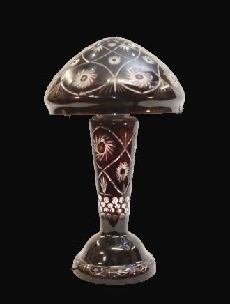 Bohemian Crystal Ruby Mushroom Lamp