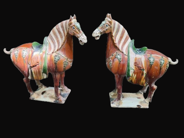 Pair of Tang Style Terracotta Horses