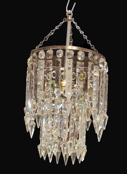 C1900s Crystal Cascading Chandelier