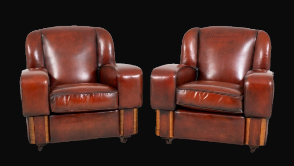 Pair of C1930s Leather Club Chairs