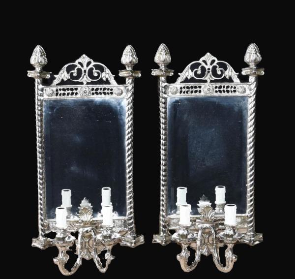 Silver Plated French Girandole Wall Mirrors