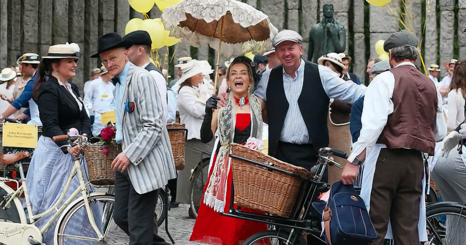 People dressed in period costumes to celebrate Bloomsday