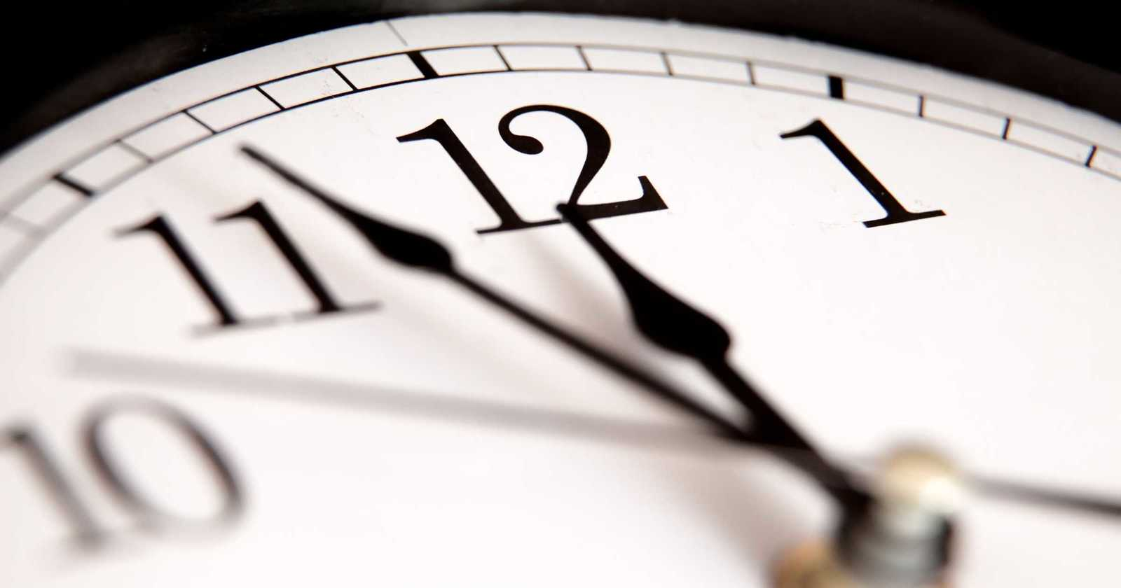 Close up of an analogue clock