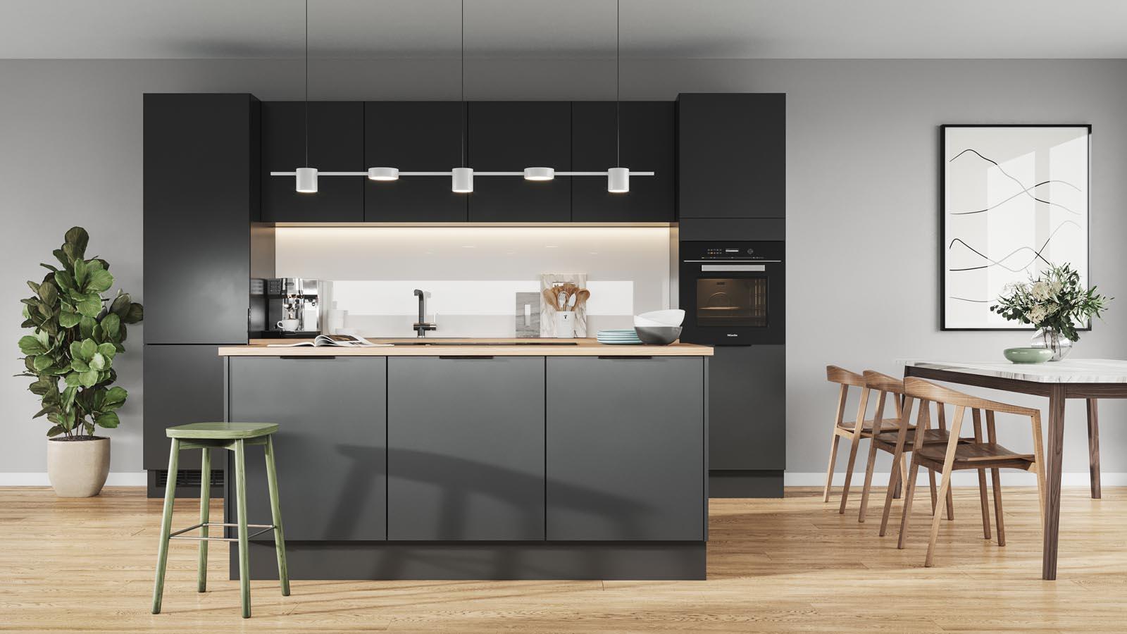Sort minimalistisk og tidsriktig kjøkken