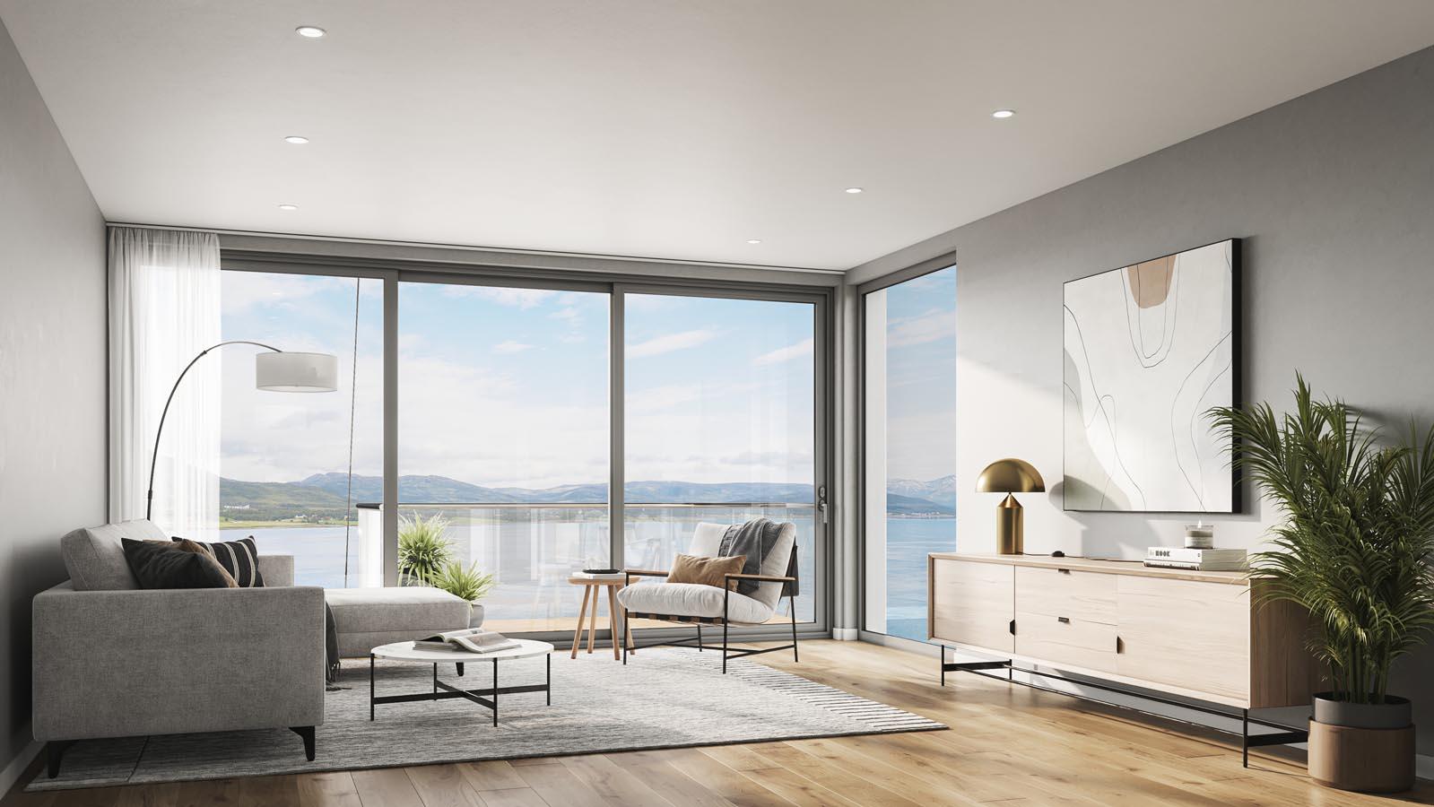 Lys stue med takhøye vinduer
