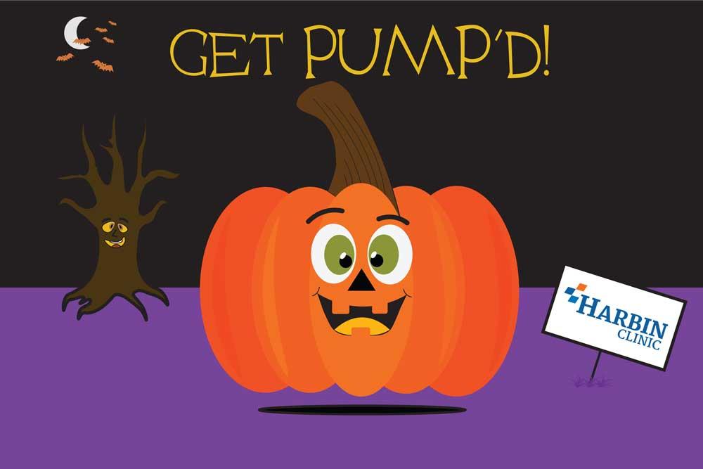 A cute pumpkin cartoon under the words Get Pump'd!