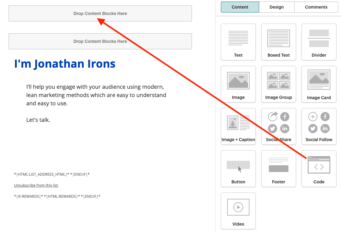 MailChimp code block preview