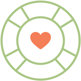 Life ring with heart inside icon
