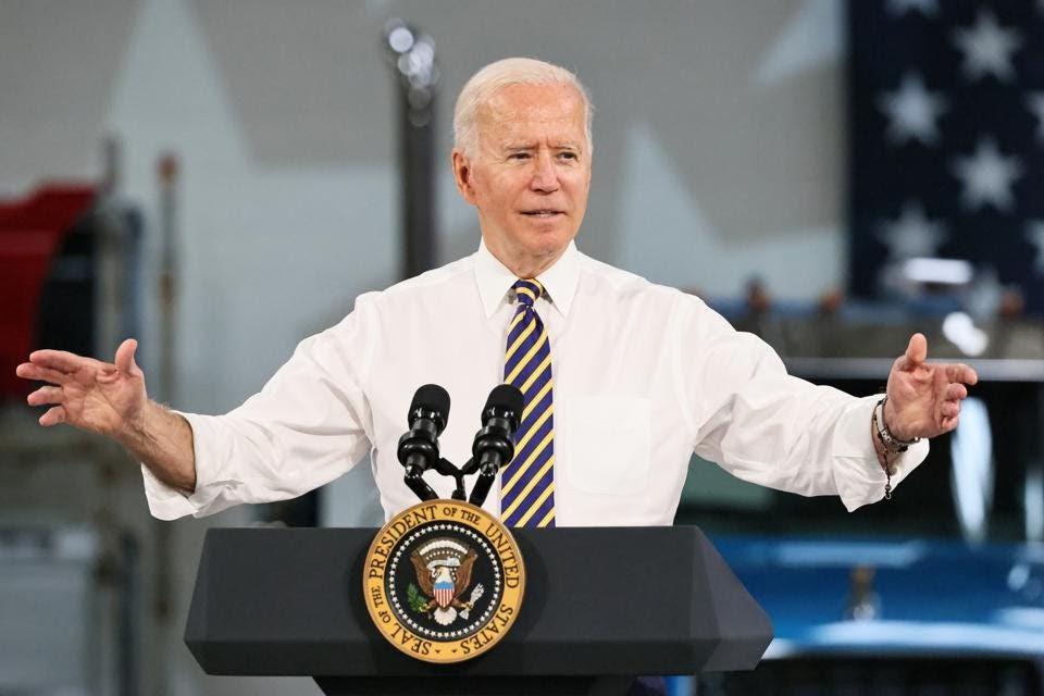 Joe Biden talking at podium