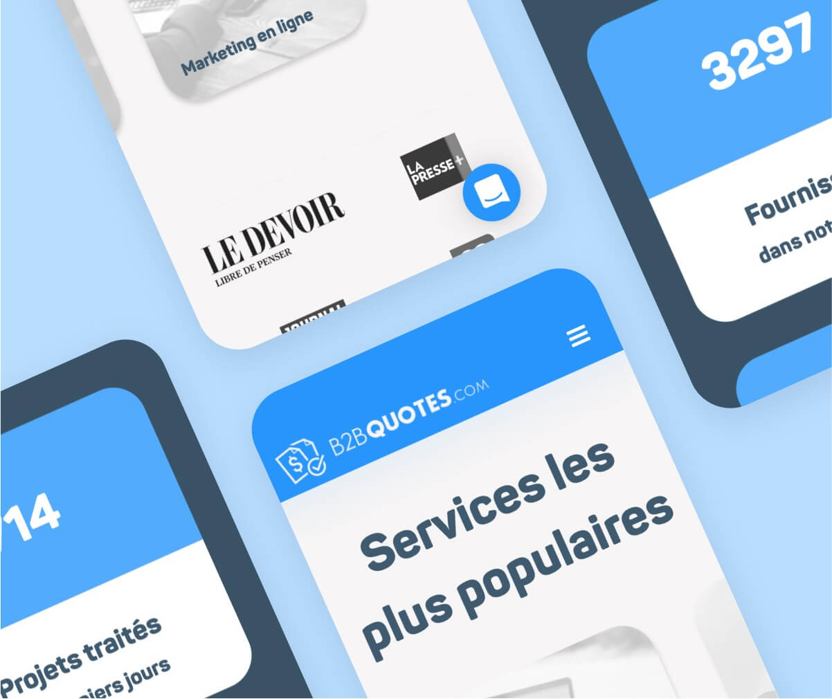 Conception web et graphique client B2B Quotes