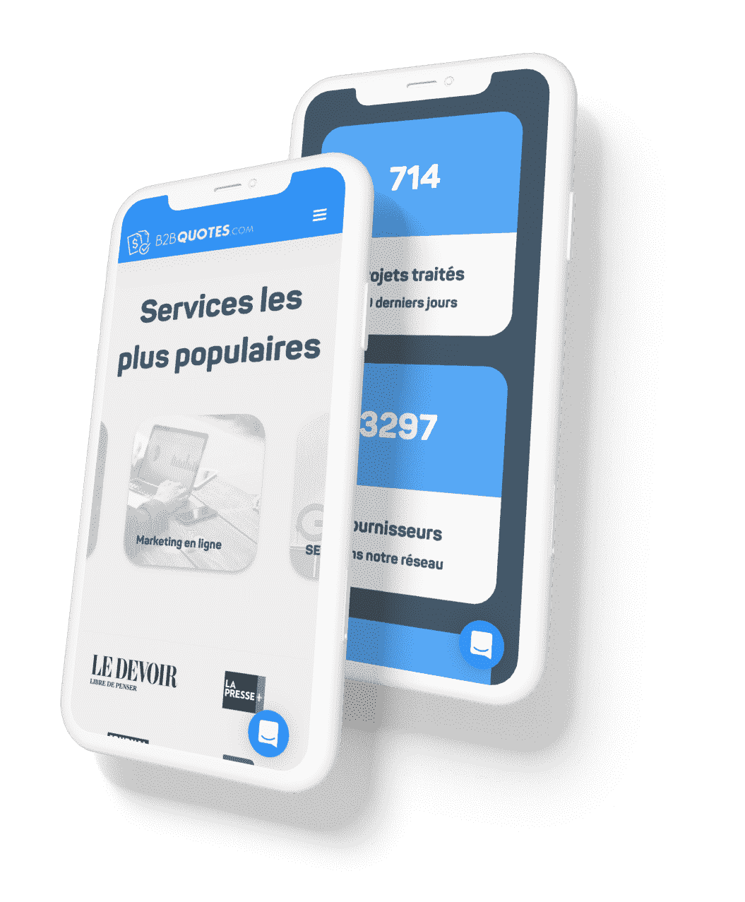 Interface mobile conçue pour B2B Quotes