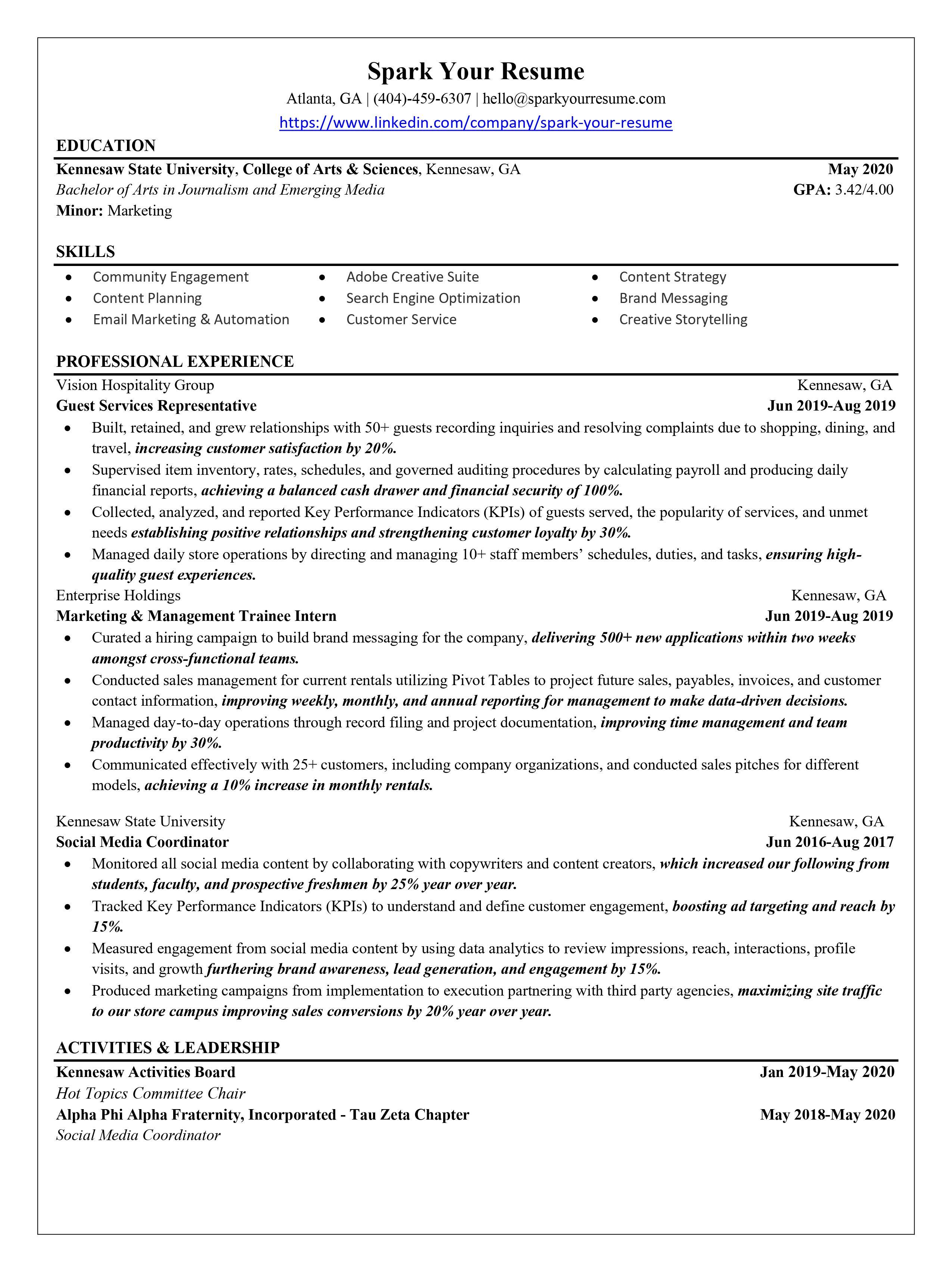 Achiever Resume