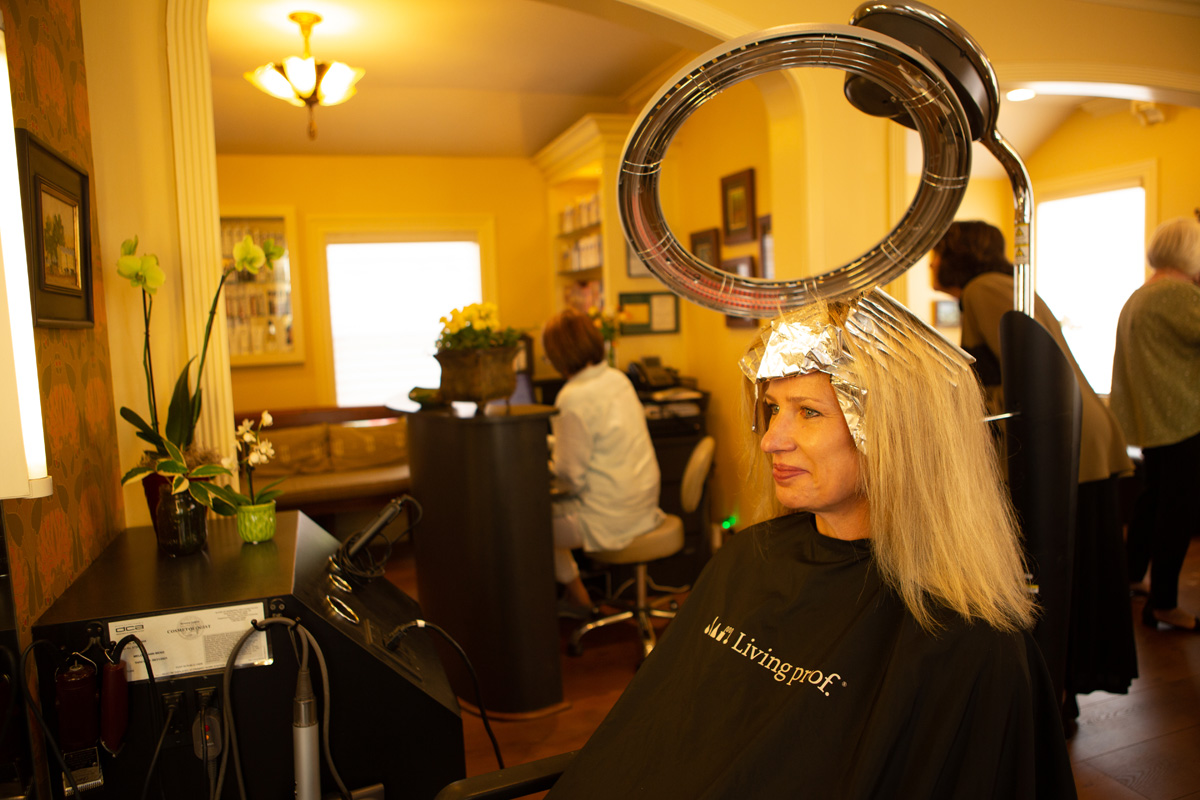 Woman with hair foils