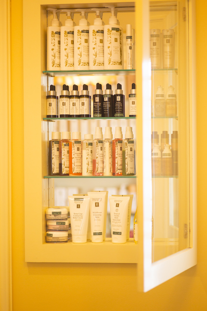Beauty products in cabinet