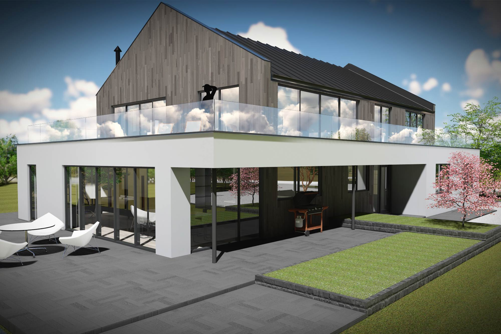 Contemporary, timber clad house re-model and extension set over the River Wyre in Poulton-le-Fylde, Lancashire