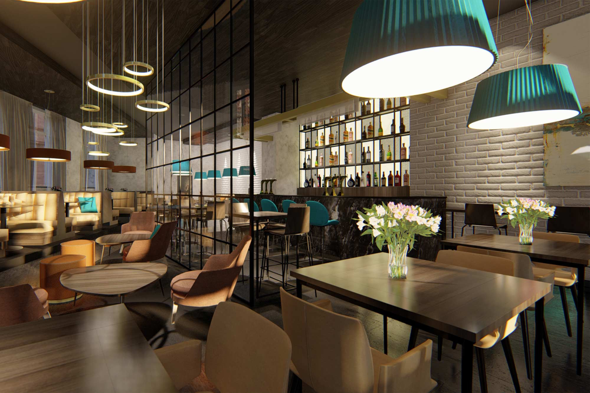 Bank conversion into stylish restaurant interior design architectural visualisations in Blackpool
