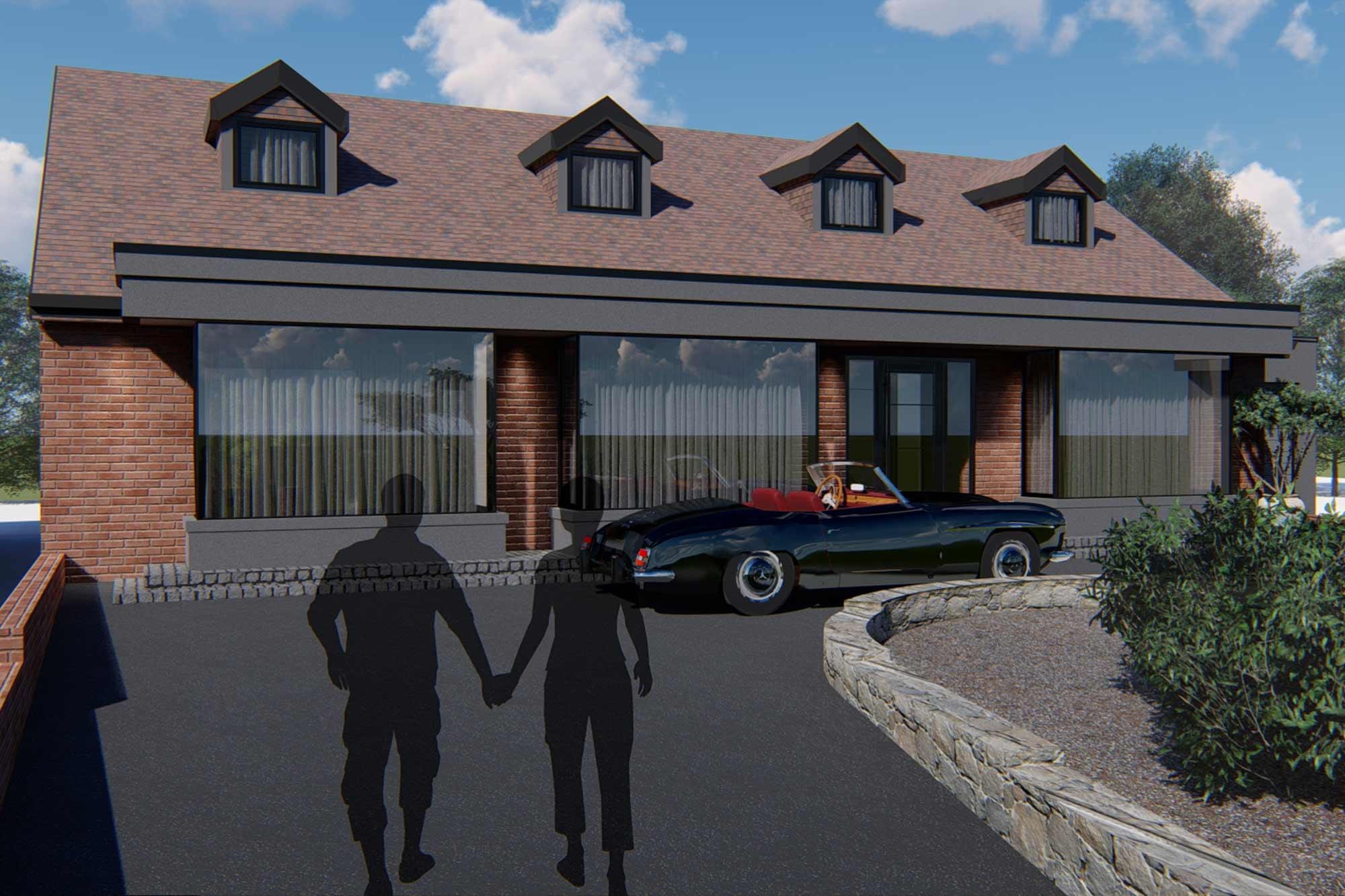Bungalow contemporary front elevation facelift architectural design in Poulton-le-Fylde, Lancashire