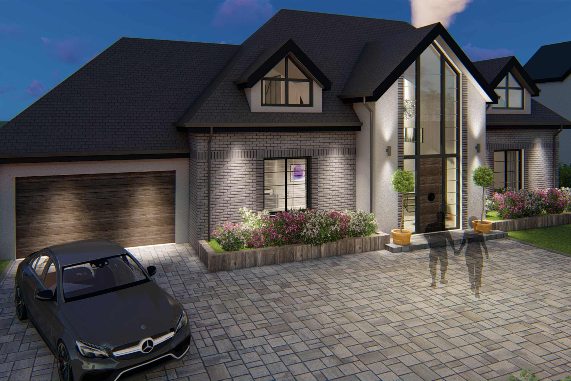 Bespoke, contemporary, house architectural design featuring glazed central apex entrance in Poulton-le-Fylde