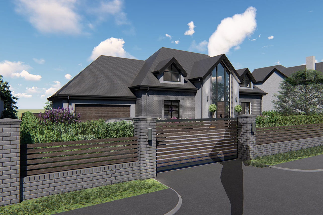 Detached, bespoke home with grand central entrance