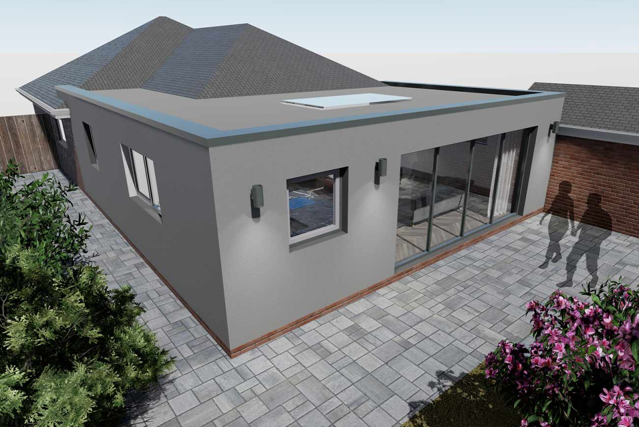 Flat roof extension to bungalow