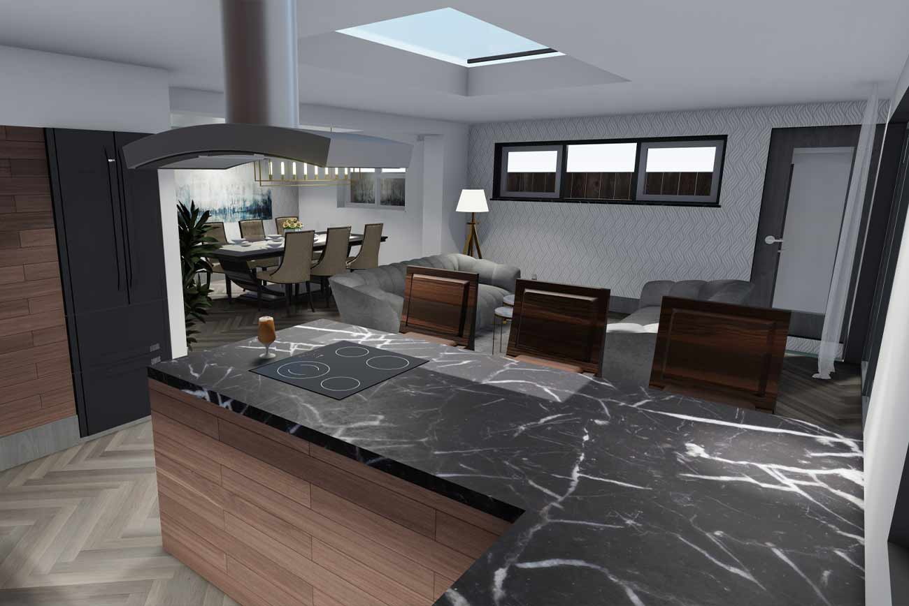 Architectural visualisation of a bungalow single storey extension