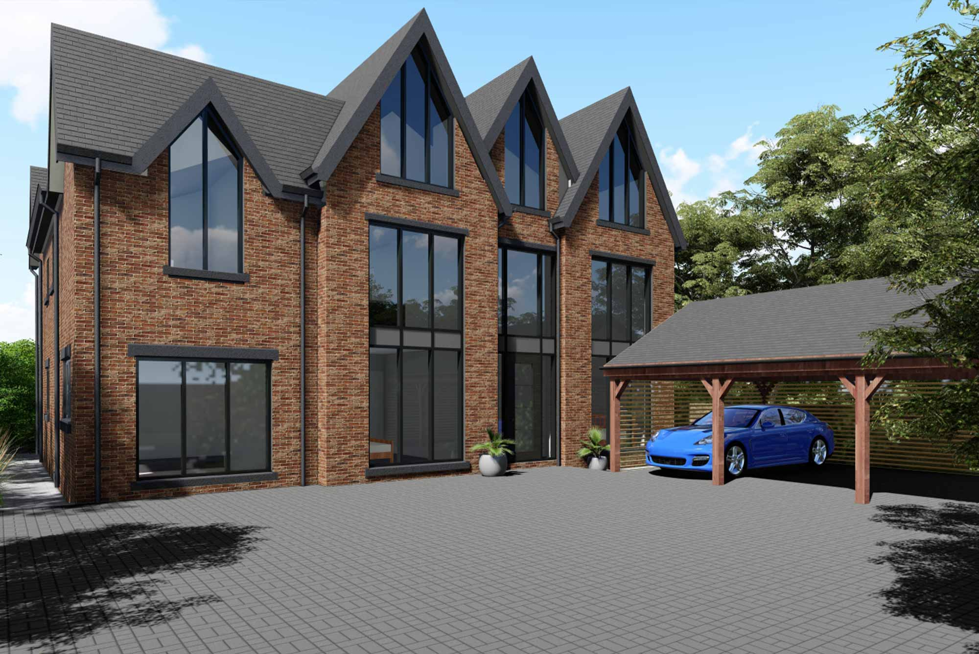 Contemporary take on a Victorian architectural style, featuring tall apex windows and rear terrace