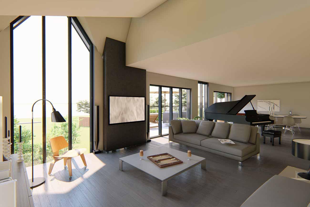 Modern interior apex windows