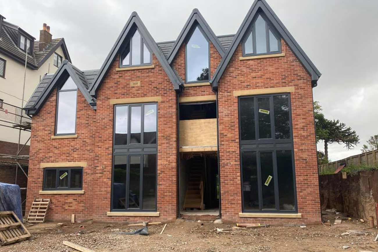 Modern take on a Victorian architectural style, front elevation with apex glazing
