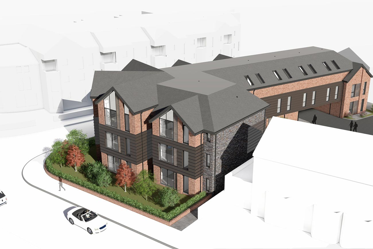 Aerial view of a contemporary Victorian apartment block in Poulton-le-Fylde