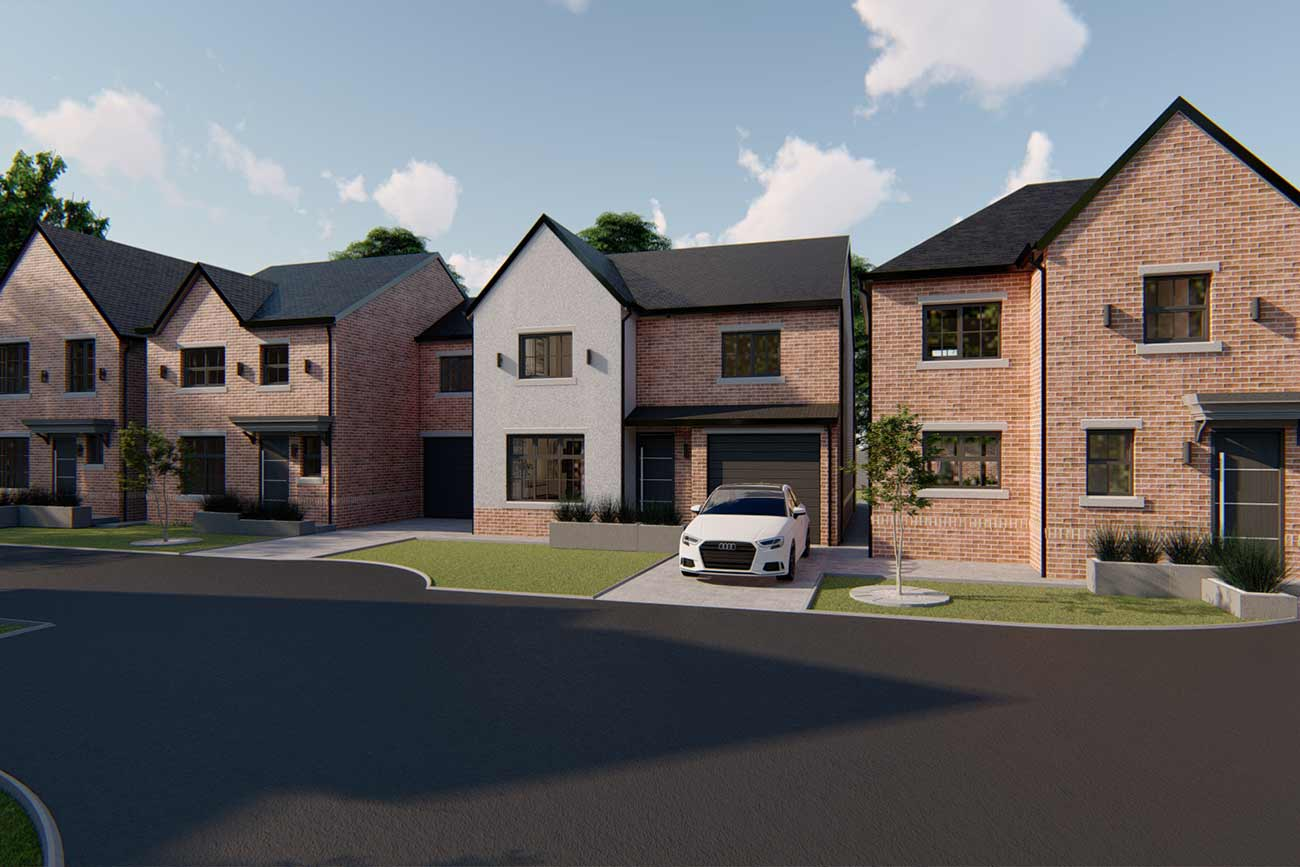 New build development three houses in Pilling Waters