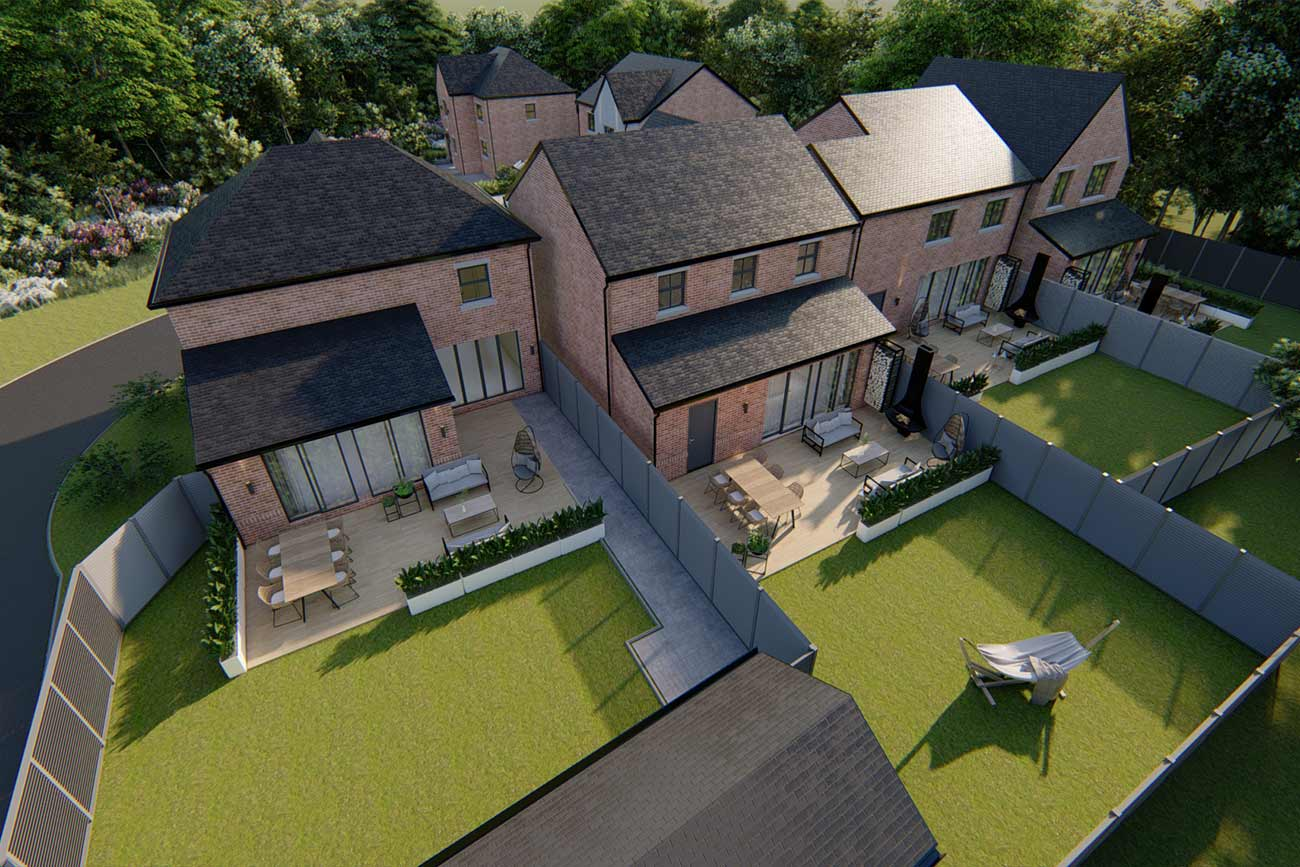 Rear aerial view of a new build development