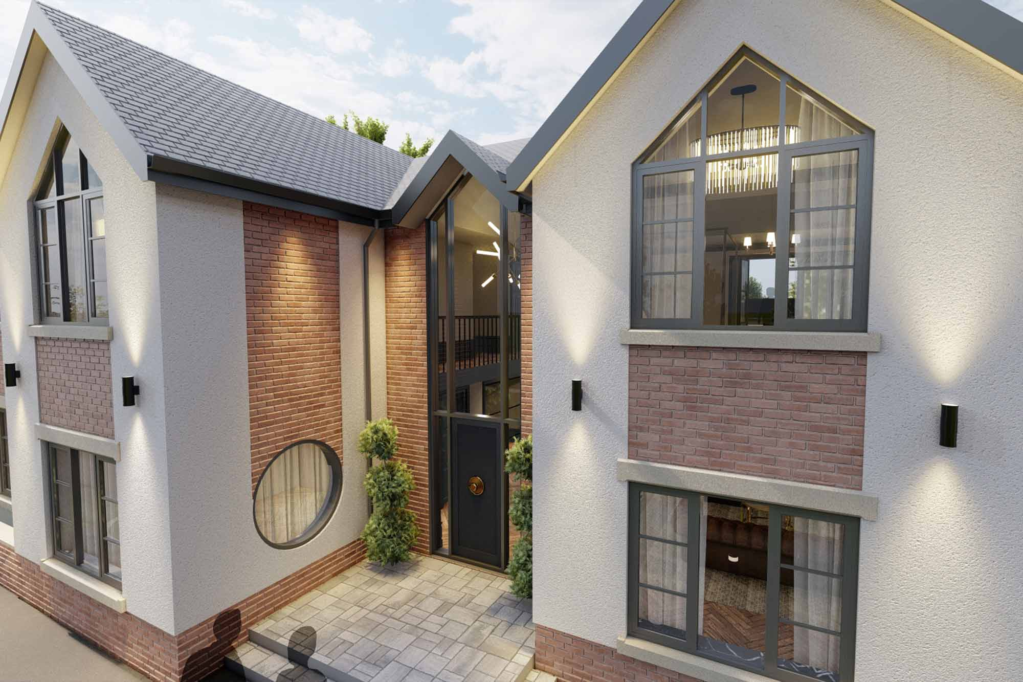 Contemporary house facelift with glazed feature entrance and apex windows
