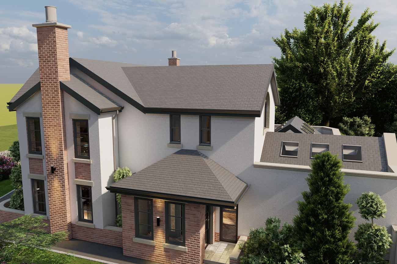 House re-model with mix of render and brick