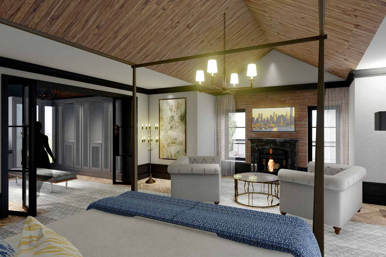 Master suite modern interior with vaulted ceiling