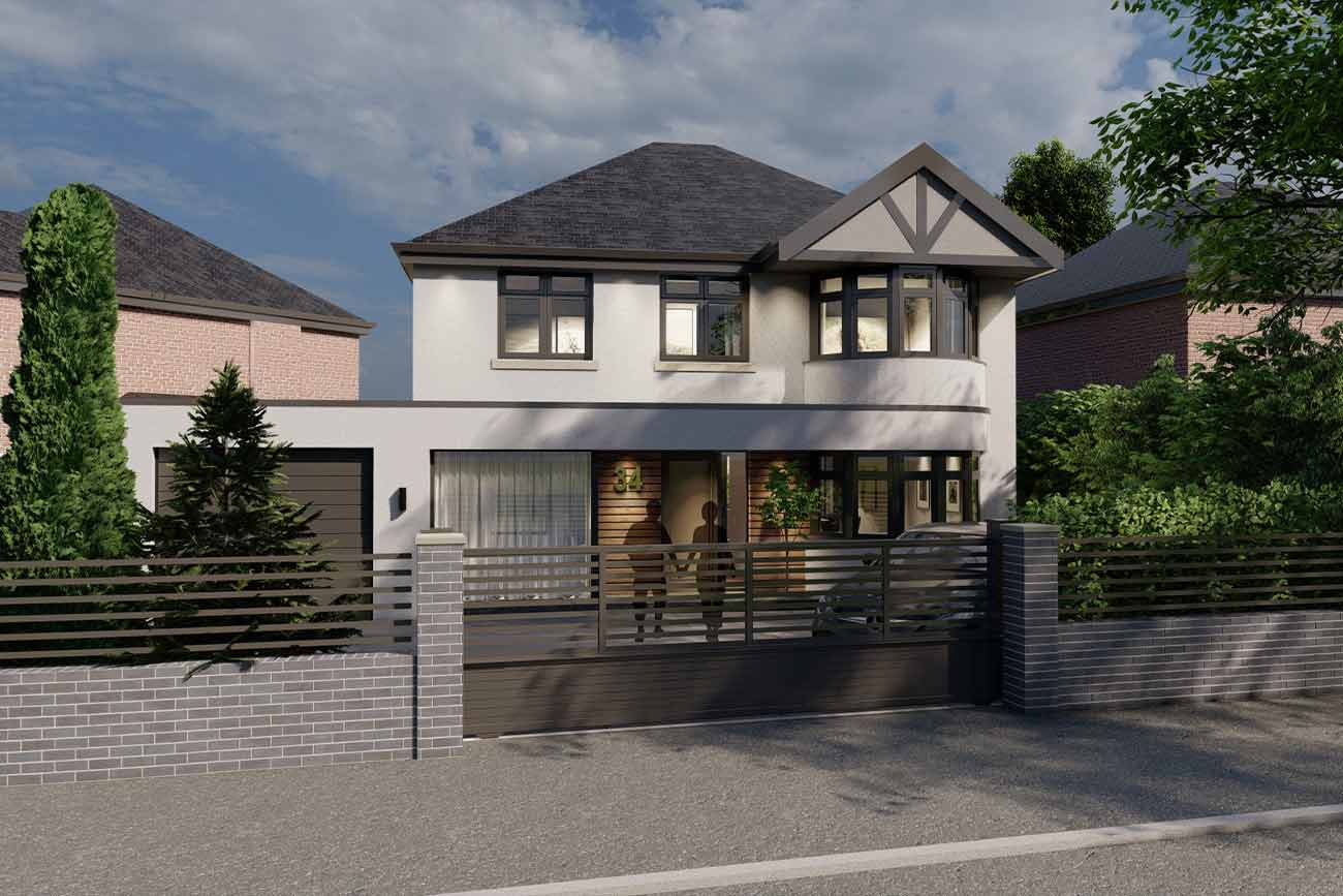Contemporary front house elevation with modern gate