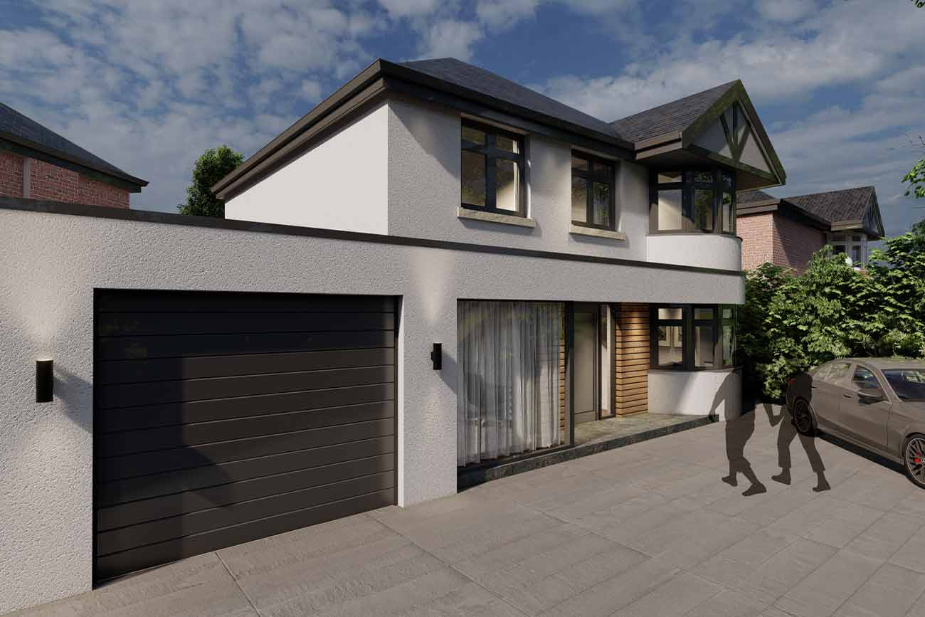 Modern detached house with garage side extension