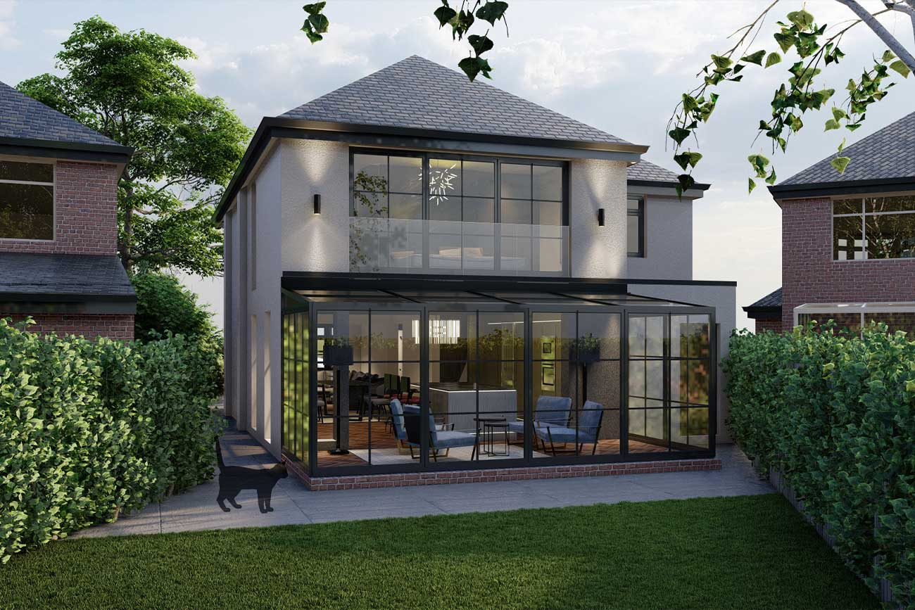 Rear contemporary extension with glass conservatory