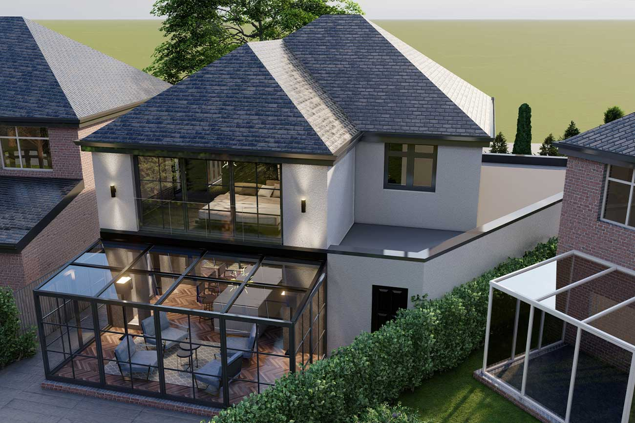 Rear house extension with contemporary glass extension in Cheshire