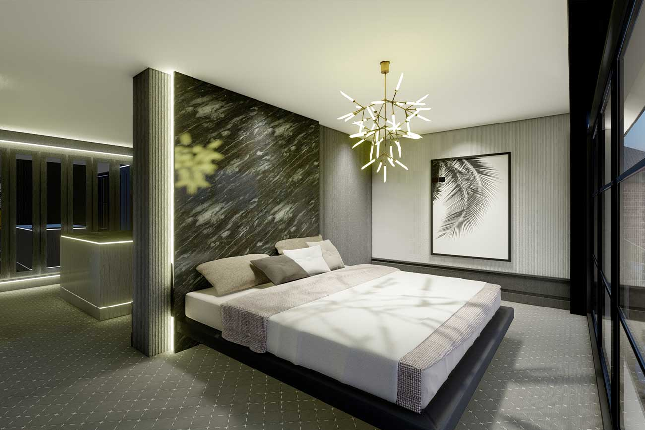 Bedroom master suite interior in modern style