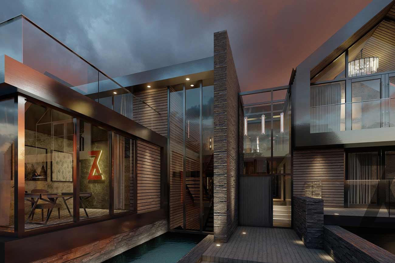 modern house glazed full height entrance