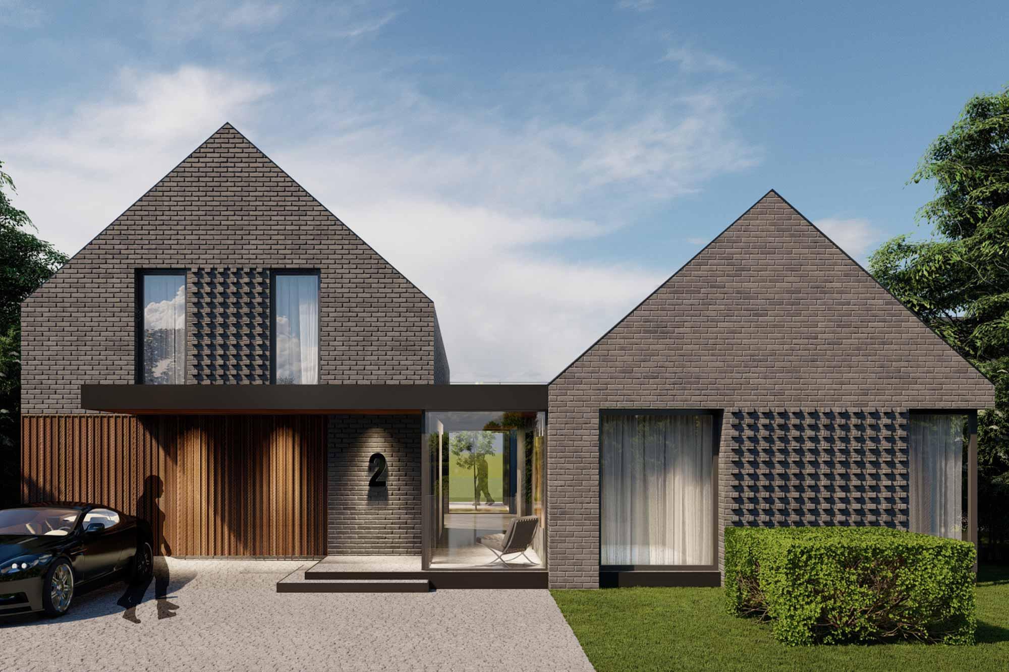 Contemporary detached bespoke home in dark grey brick