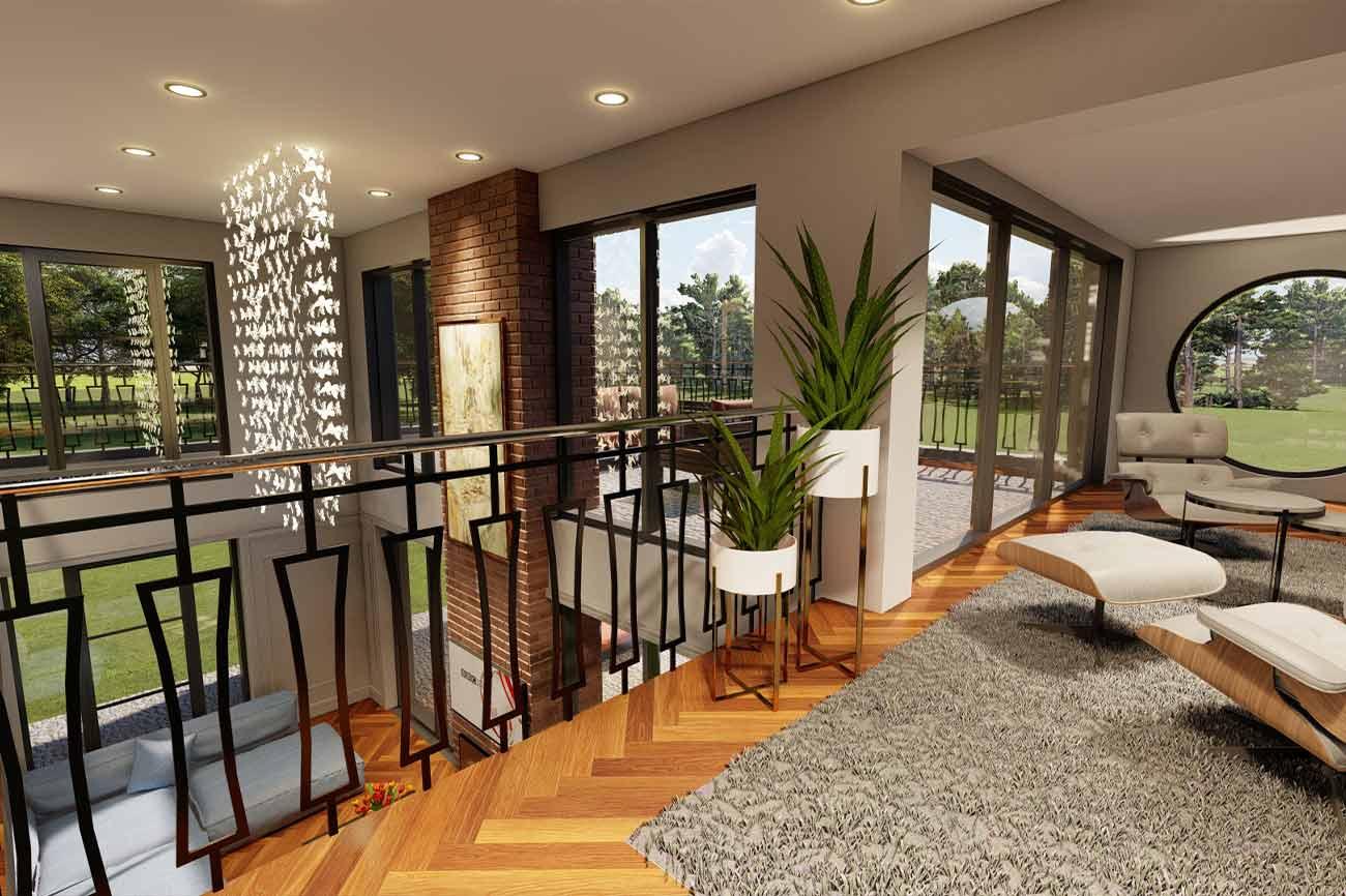 double height living areas mezzanine
